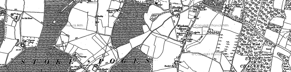 Old map of Stoke Poges in 1897
