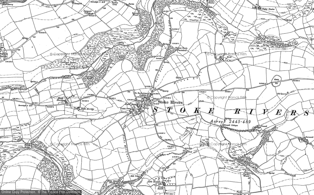Old Map of Historic Map covering Yarde in 1886