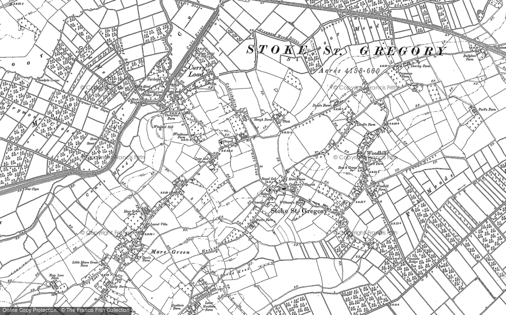 Old Map of Stoke St Gregory, 1886 in 1886