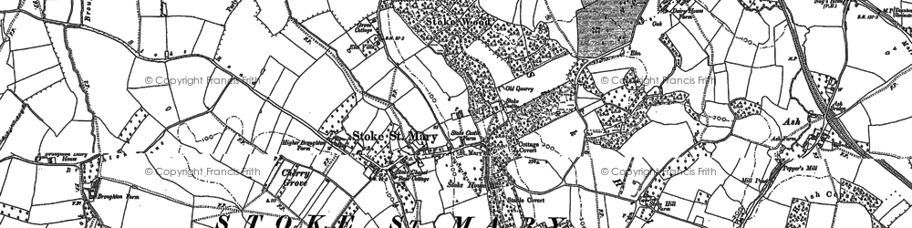 Old map of Stoke St Mary in 1886