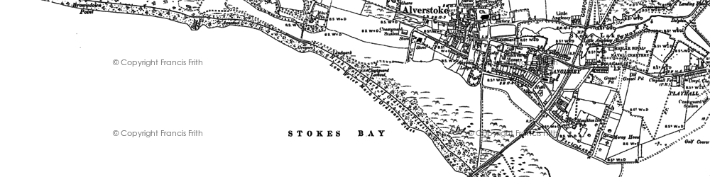 Old map of Stokes Bay in 1907