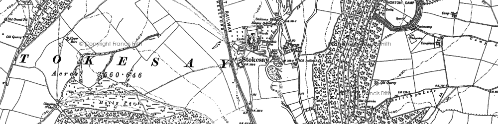 Old map of Stokesay in 1883