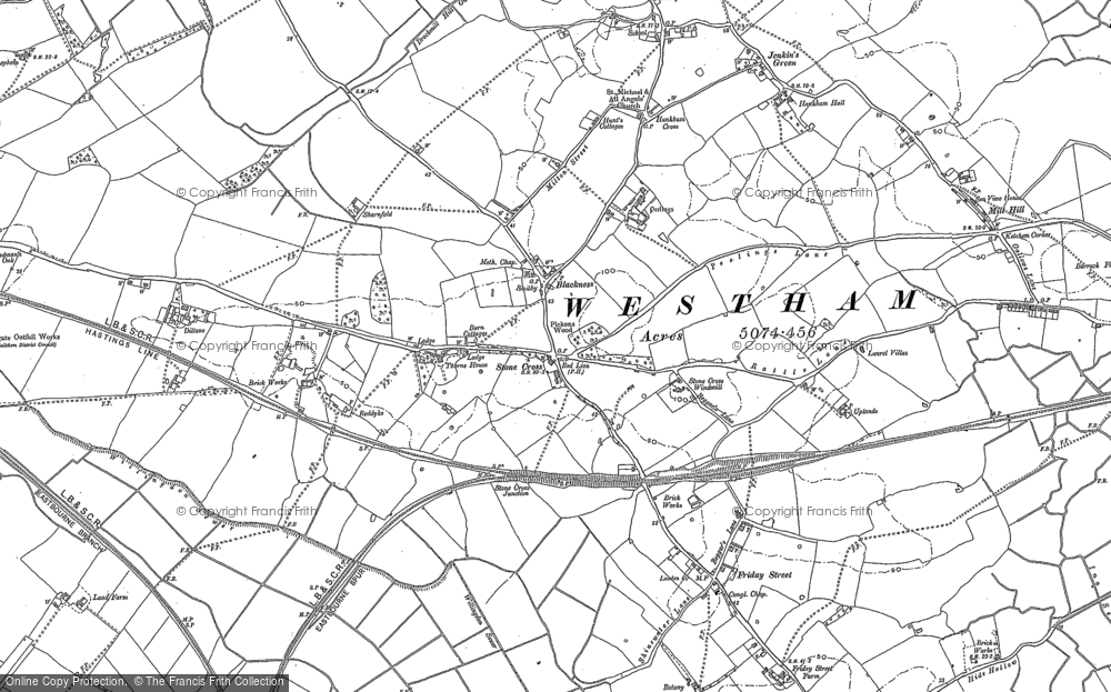 Old Map of Historic Map covering 1066 Country Walk in 1908
