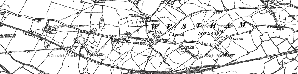 Old map of 1066 Country Walk in 1908