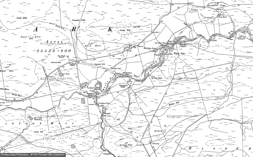 Old Map of Historic Map covering White Hill in 1895