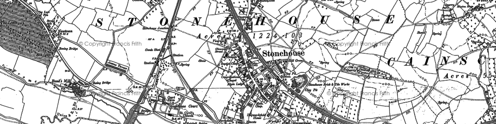 Old map of Stonehouse in 1882