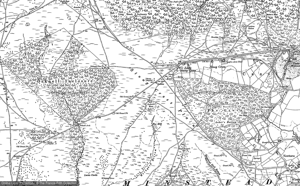 Old Map of Historic Map covering Acres Down Ho in 1896