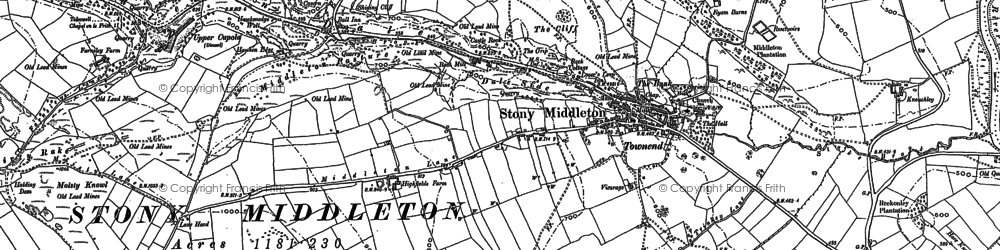 Old map of Stoney Middleton in 1878