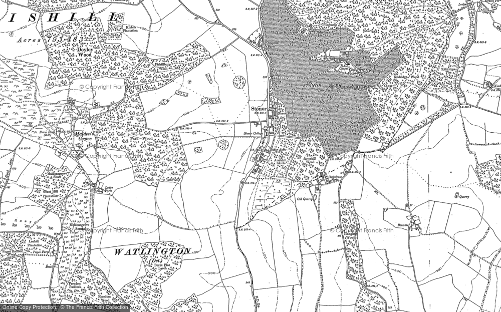 Old Map of Historic Map covering Balham's Wood in 1897