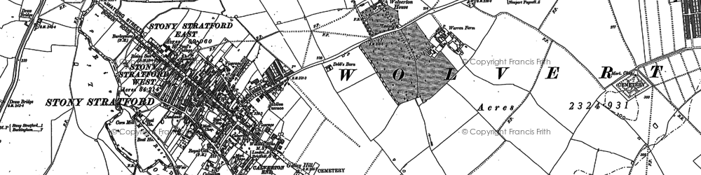 Old map of Stony Stratford in 1898