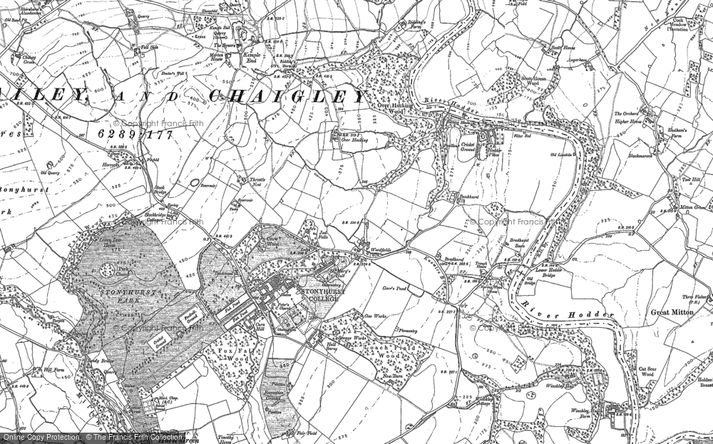 Old Map of Historic Map covering Woodfields in 1892