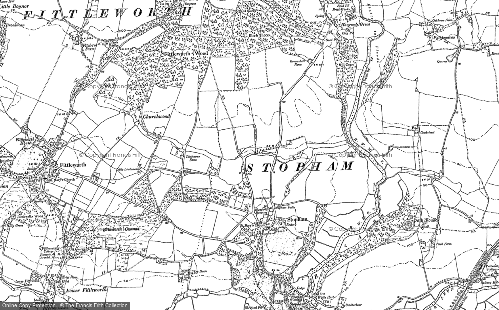 Old Map of Historic Map covering Stopham Ho in 1896