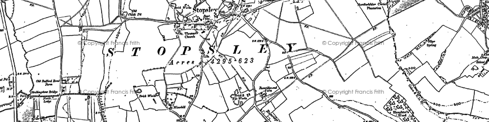 Old map of Stopsley in 1879
