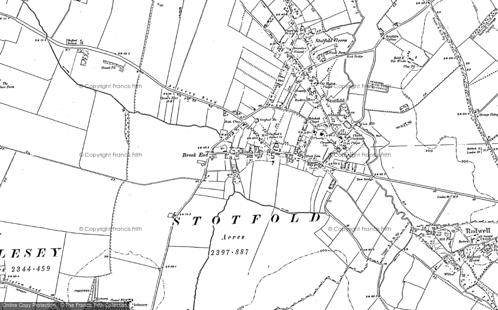 Old Map of Historic Map covering Astwick in 1900