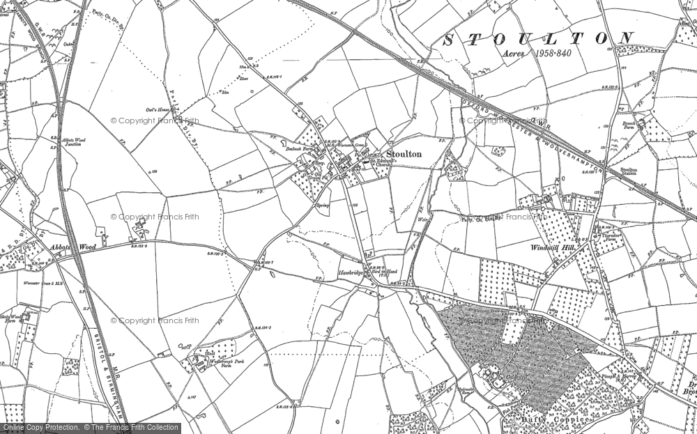 Old Map of Historic Map covering Abbotswood in 1884