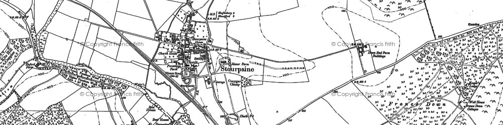 Old map of Stourpaine in 1886