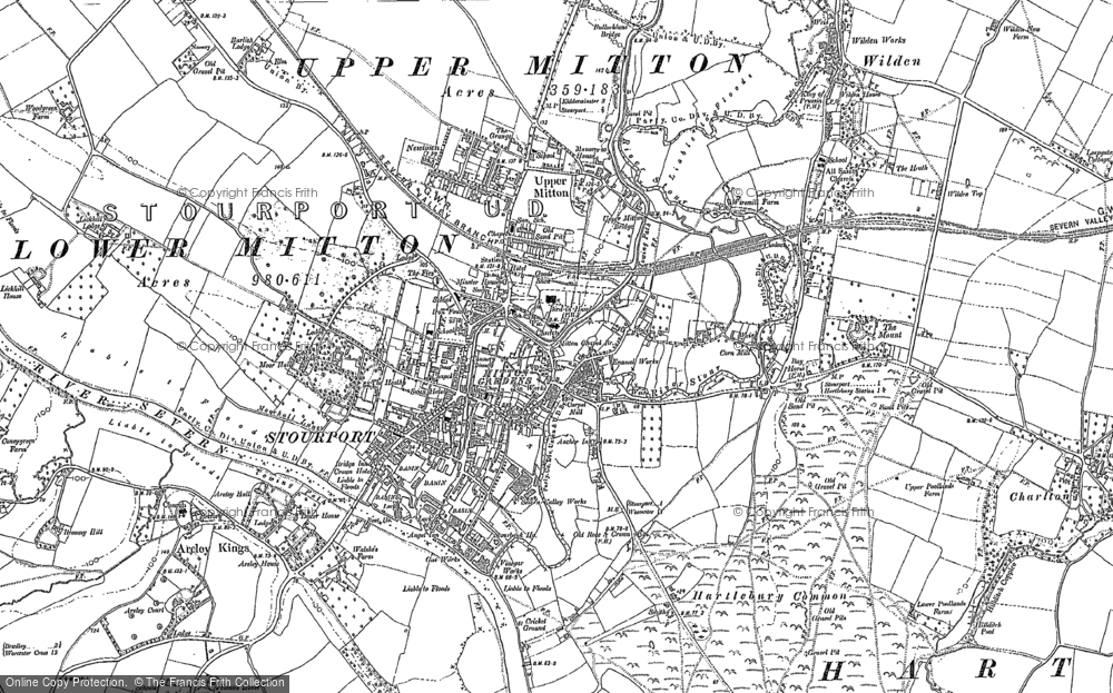 Old Map of Historic Map covering Wilden in 1883