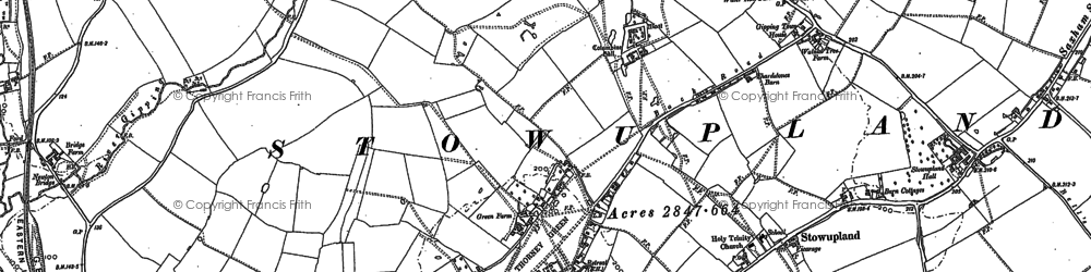 Old map of Stowupland in 1884