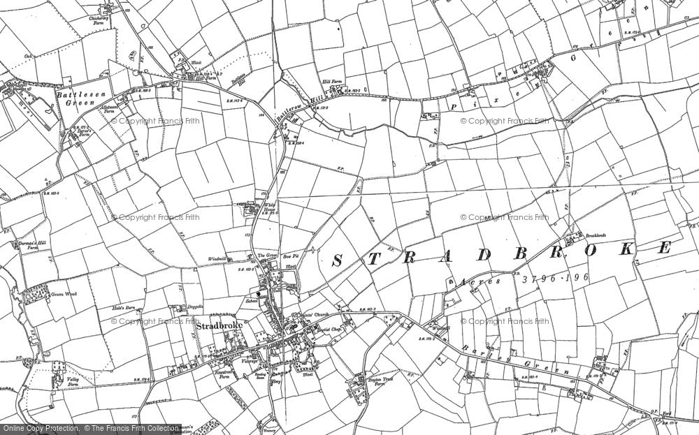 Old Map of Stradbroke, 1884 - 1903 in 1884
