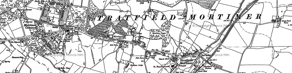 Old map of Stratfield Mortimer in 1910