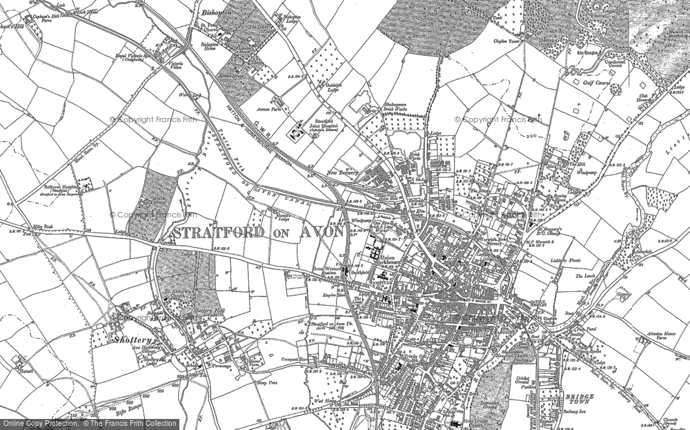 Old Map Of Stratford Upon Avon 1885