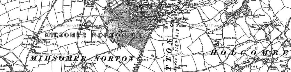 Old map of Stratton-on-the-Fosse in 1884