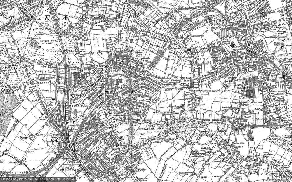 Map of Streatham, 1894 - 1910