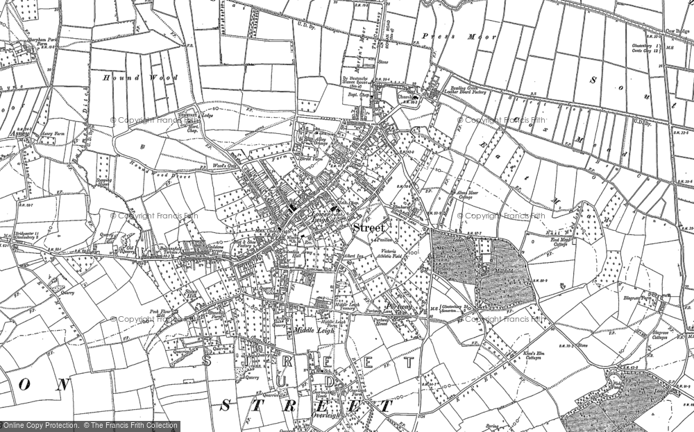 Old Map of Historic Map covering Leigh Holt in 1885