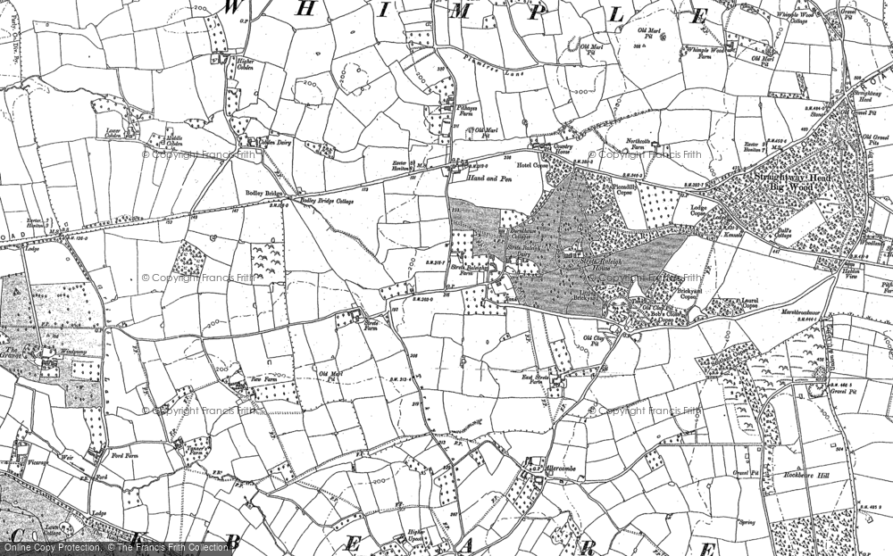 Old Map of Historic Map covering Aller Grove in 1887