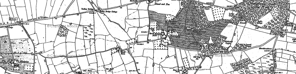 Old map of Whimple Wood in 1887