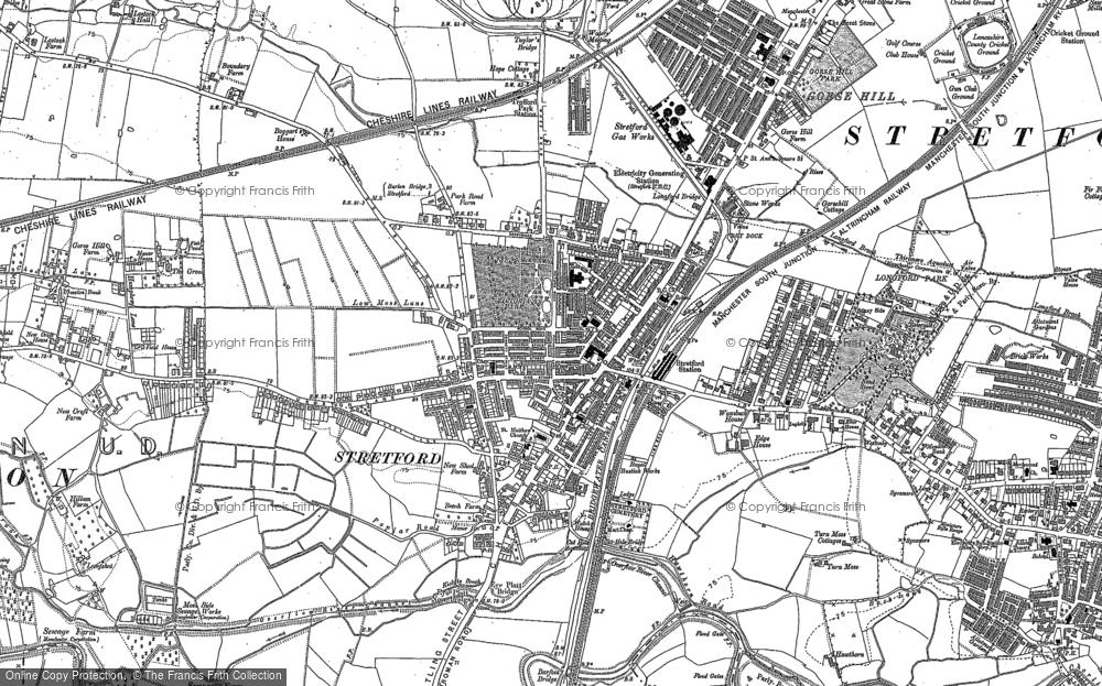 OLD ORDNANCE SURVEY MAP CHORLTON CUM HARDY STRETFORD 1905 MANCHESTER CHESTER RD