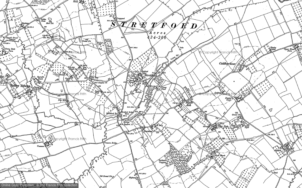 Old Map of Historic Map covering Bainstree Cross in 1885