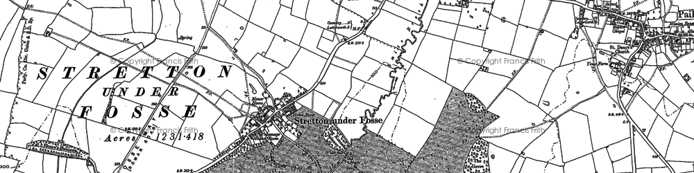 Old map of Stretton under Fosse in 1886