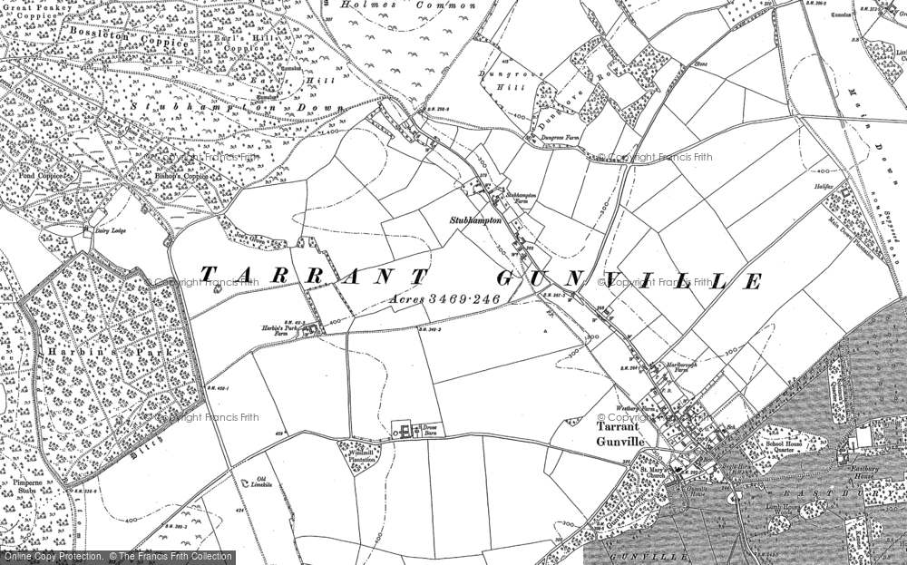 Old Map of Historic Map covering Ashmore Bottom in 1886