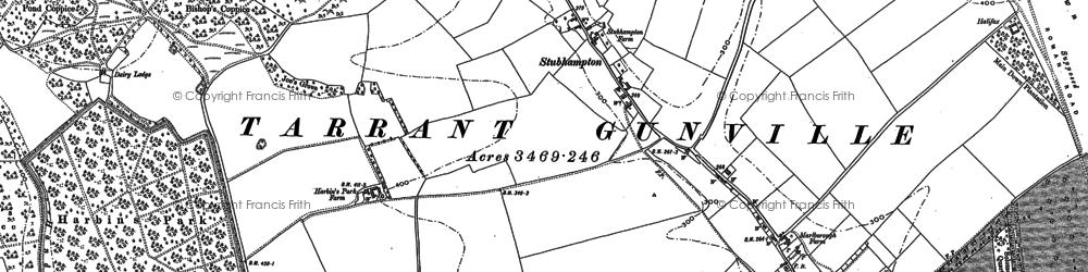 Old map of Ashmore Bottom in 1886