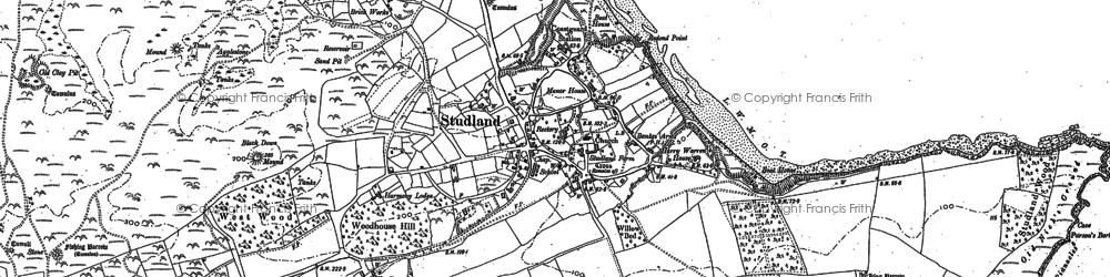 Old map of Ballard Down in 1886