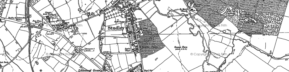 Old map of Studley in 1885