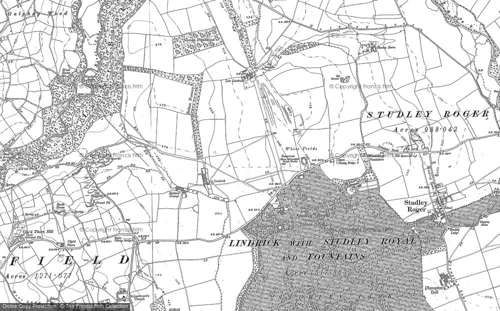 Old Map of Historic Map covering Laver Banks in 1890