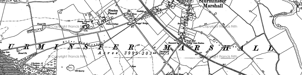 Old map of Sturminster Marshall in 1887