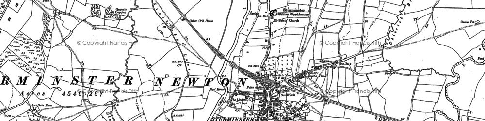 Old map of Sturminster Newton in 1886