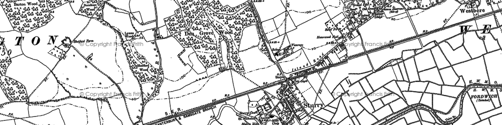 Old map of Sturry in 1896