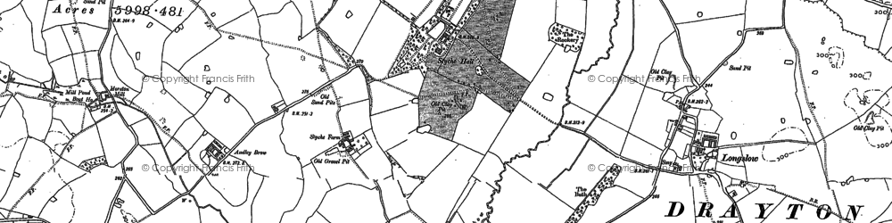 Old map of Styche Hall in 1879