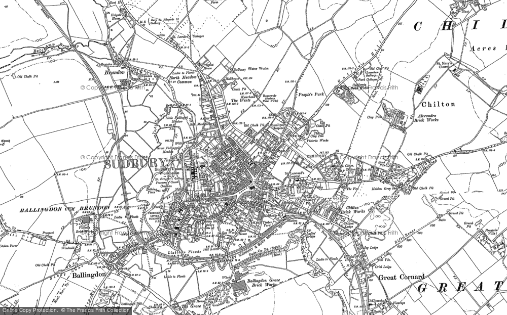 Old Map of Historic Map covering Ballingdon Grove in 1902