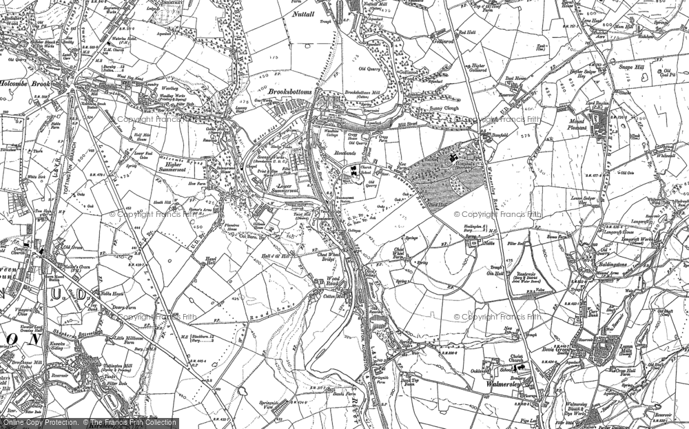 Old Map of Historic Map covering Wood Road in 1891