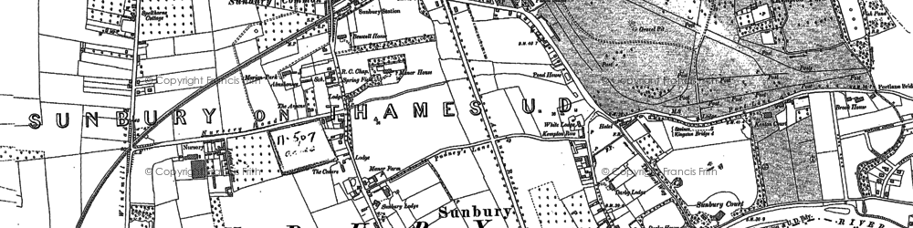 Old map of Sunbury in 1912