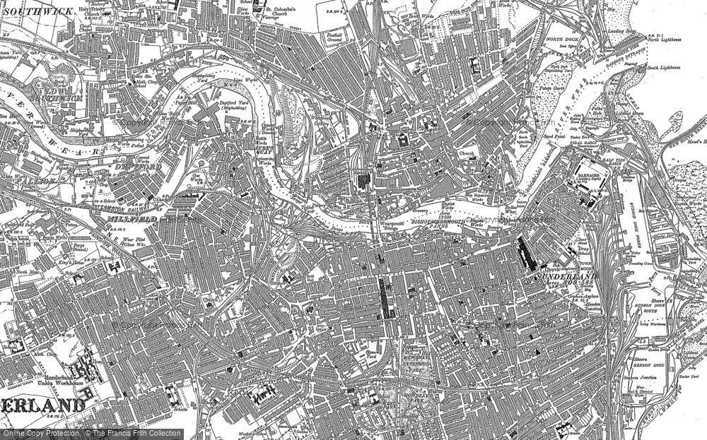 Old Map of Historic Map covering Ayres Quay in 1914