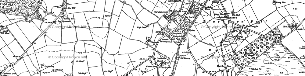 Old map of Whickham Fell in 1895
