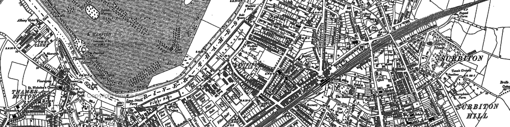 Old map of Surbiton in 1894