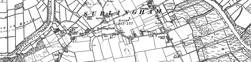 Old map of Surlingham in 1881