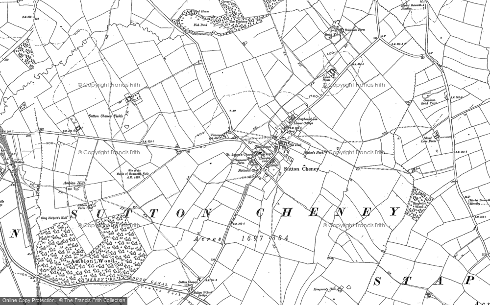Old Map of Historic Map covering Ambion Hill in 1885